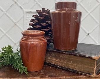 Pair of Brown Glazed Cream Pots - Antique English Advertising
