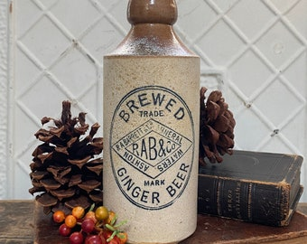 R.A. Barrett Two-Toned Stoneware Ginger Beer Bottle - Antique English Advertising