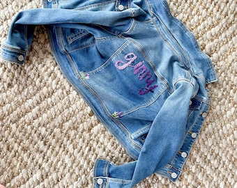 Toddler jean jacket with custom embroidery | embroidered name | toddler jacket | back to school gift | custom kids clothes