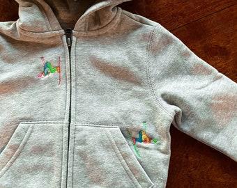Baby/Toddler zip up hoodie with embroidered skier motifs | toddler skier | baby skier | baby sweatshirt | toddler ski sweatshirt