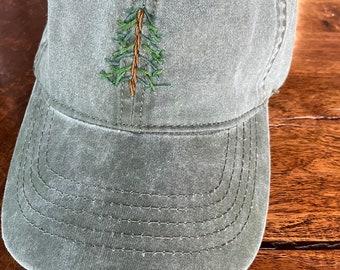 Embroidered pine tree - vintage green women's baseball cap