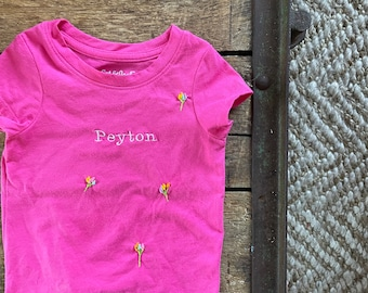 Personalized Baby + Toddler tshirt with embroidered  name and flower motifs | toddler name tshirt  | short sleeve baby tshirt