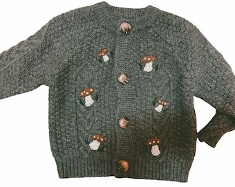 Toddler chunky sweater with embroidered mushrooms | kid's cozy sweater | embroidered toddler cardigan