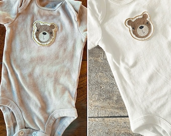 Baby bear machine embroidered baby bodysuit | bear onesie | cute baby shower gift | baby bear | hand dyed