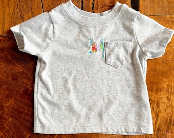 Baby + Toddler tshirt with embroidered skier motifs | toddler skier | baby skier  | short sleeve baby tshirt