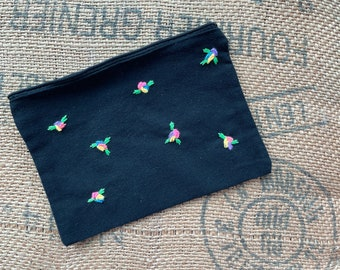 Embroidered flower zip bag