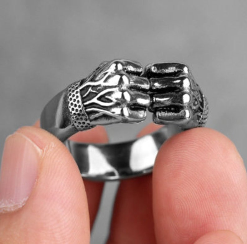 Personality Stainless Steel Angry Fists Ring Punk Rock Hip Hop Rings Symbol Of Strength Ring Men Boys Jewelry Gift