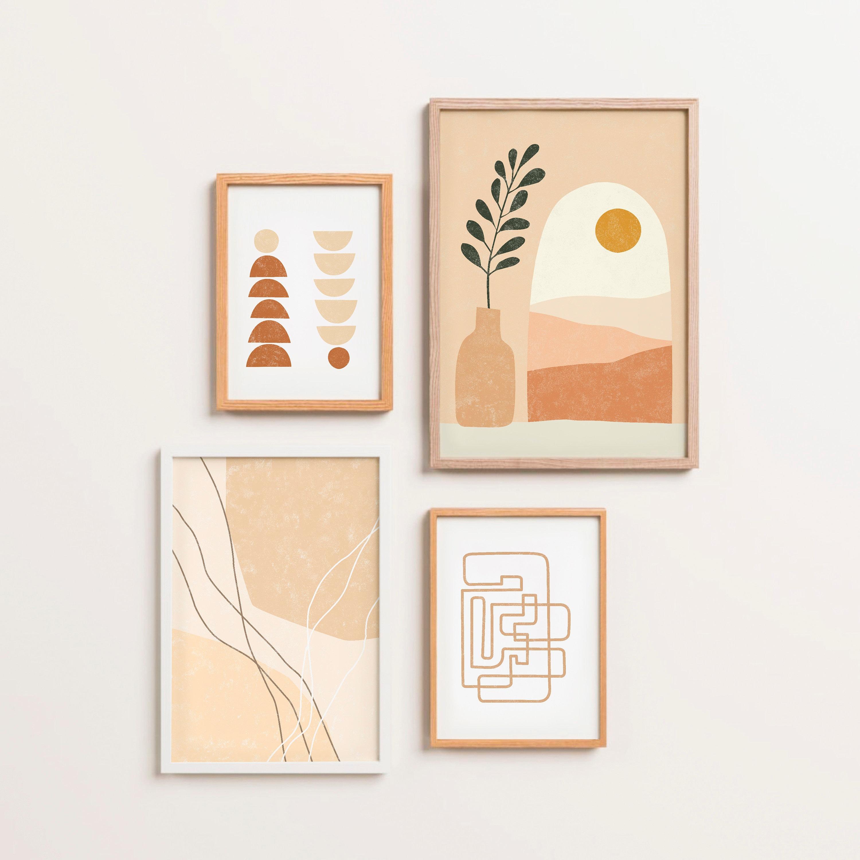 Set of 20 Abstract Wall Art Printable Botanical Geometric Print Scandinavian  Wall Decor Bedroom Boho Decor Prints Modern Mid Century Art