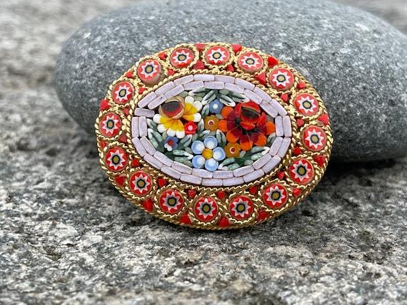 Stunning Vintage Italian MicroMosaic Intricate Large Brooch Pin