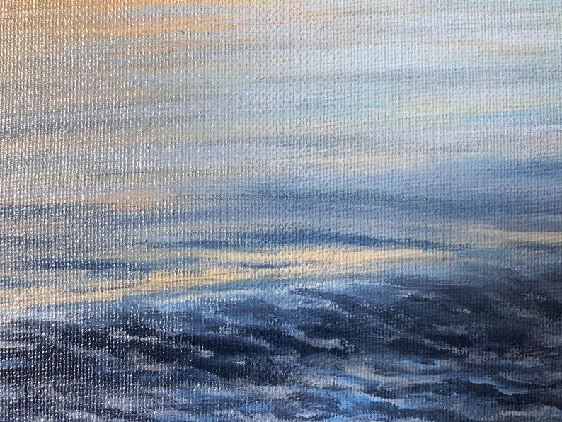 Ocean Seascape Original Oil painting on Canvas Blue Sea Painting Coastal Wall Art