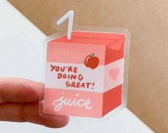 You're Doing Great Juice Box Sticker   Clear Stickers   Fruit juice, Bullet journal, Cute drinks, Kawaii aesthetic, Motivational