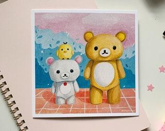 Rilakkuma Bear Art Print   Korilakkuma and Kiiroitori   Cute Kawaii aesthetic painting, room decor