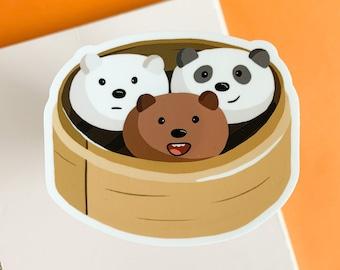 We Bare Bears Dim Sum Sticker   Ice Bear, Panda, and Grizz   Kawaii Bear Bao Illustration