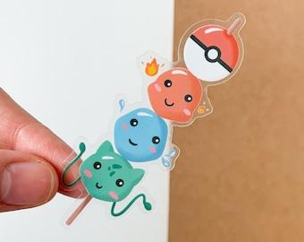 Pokemon Dango Clear Sticker   Charmander, Bulbasaur, Squirtle   Pokeball, Japanese food, Asian Snack