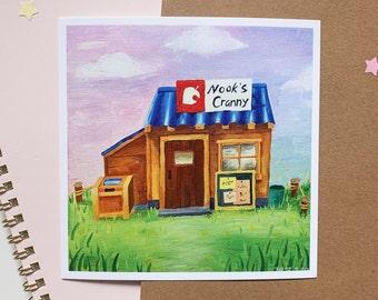 Animal Crossing New Horizons Art Print   ACNH Nook's Cranny painting   Nintendo, wall art decor
