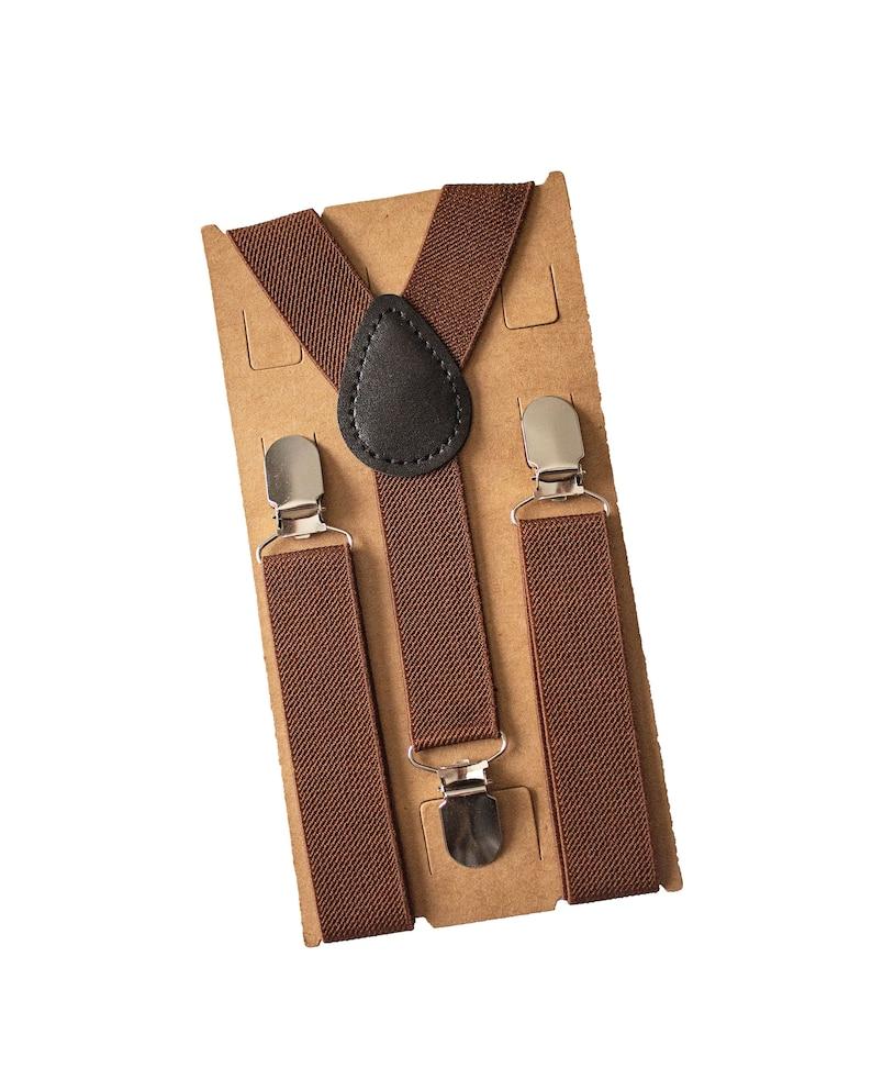 Newborn-Adult Boys Birthday Ring BearerPage Boy Thanksgiving Cinnamon Bow Tie Brown Suspenders for Groomsmen Best Man Gift
