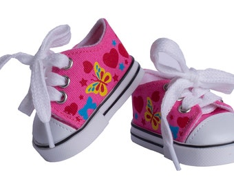 White or Light Purple Slip-On Canvas Sneakers Shoes fit American Girl Size Doll