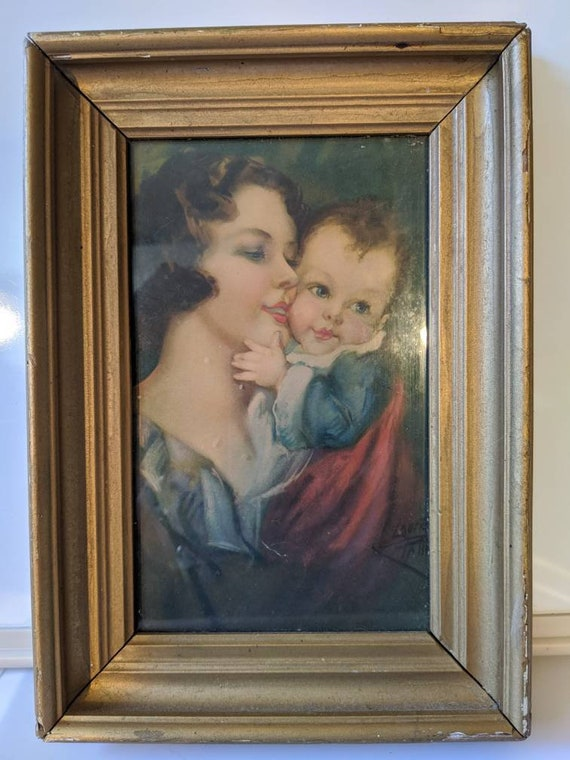 Vintage mother and child, baby and mother.
