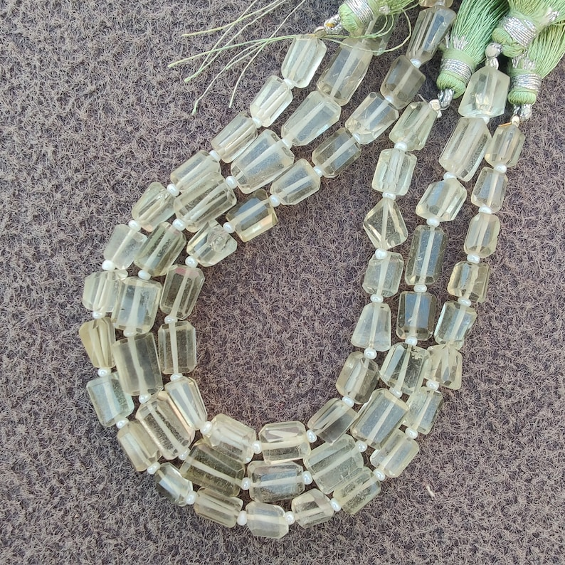 50/% Sale Natural Handmade Green Amethyst Faceted Tumble Beads Green Amethyst Tumble Shape Beads Faceted Tumble Shape Gemstone Beads.