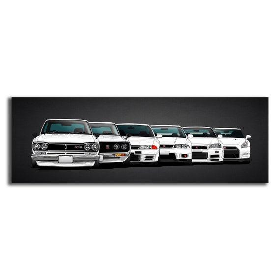 Framed Picture Print Wall Art JDM Nissan Skyline R34 GTR 30x20 Inch Canvas