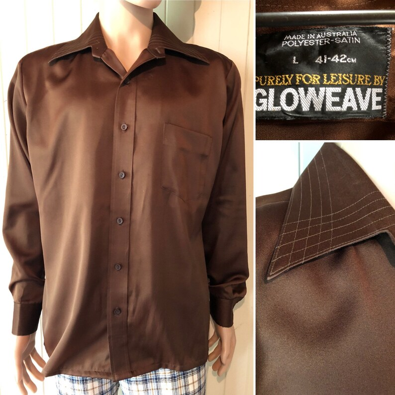 Size L Vintage Brown dress shirt by Gloweave made in the 1970s Polyester satin feel