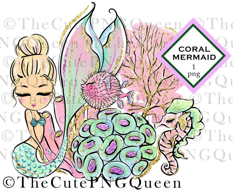 seahorse PNG puffer fish coral Digital Art Cute Blonde Mermaid Sublimation Design Mermaid clipart Instant Download Printable Mermaid
