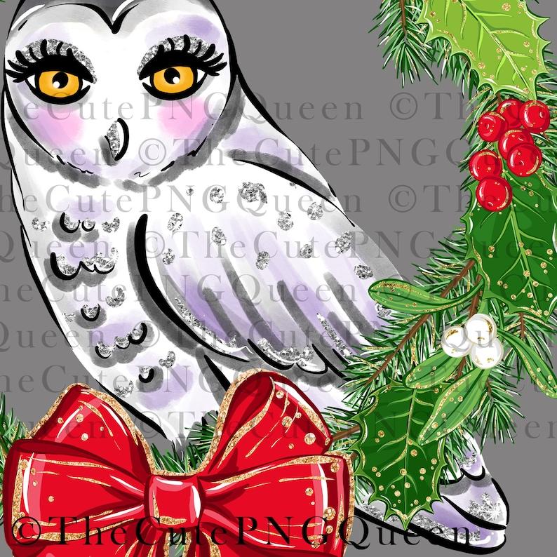 cute Xmas wreath Christmas winter bird Xmas decor holly wreath Wreath with Owl Sublimation file png printable transfer Xmas design