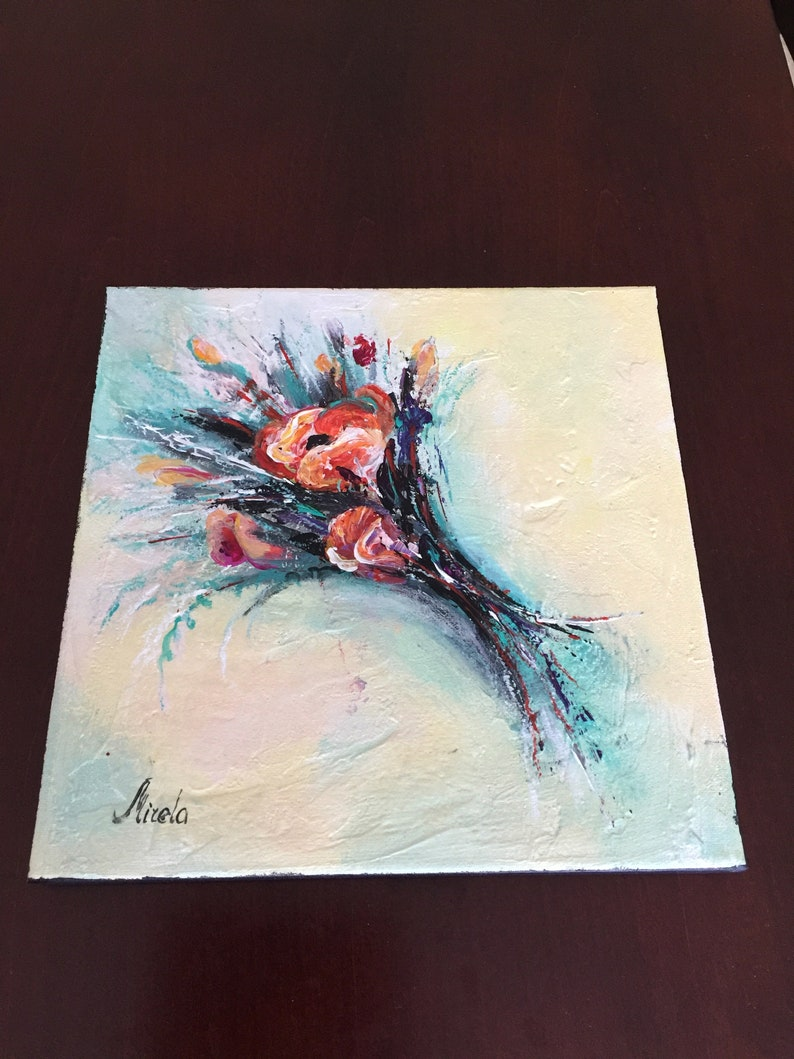 Home Wall Decor Birthday Gift Wall Art Flowers Wall Artwork.H10xW10xD.75 Original Abstract Painting Bouquet 2 Contemporary Painting