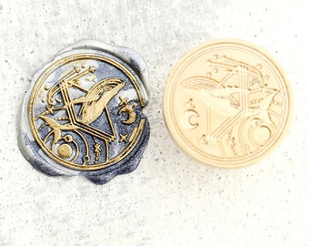 Whale and moon  Wax Seal Stamp  whale star wax sealing  Kit sea ocean whale wax seal  Stampwhale Wax sealing kitwedding whale wax stamp