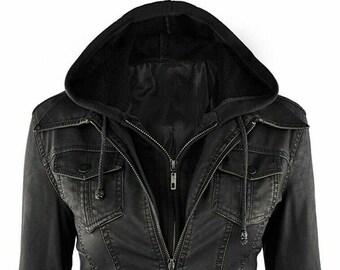 Real Genuine Leather Biker Motorcycle Hooded Women Jacket