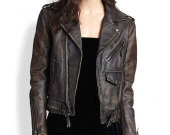 Women's Asymmetrical Zipper Biker Distressed Brown Leather Jacket