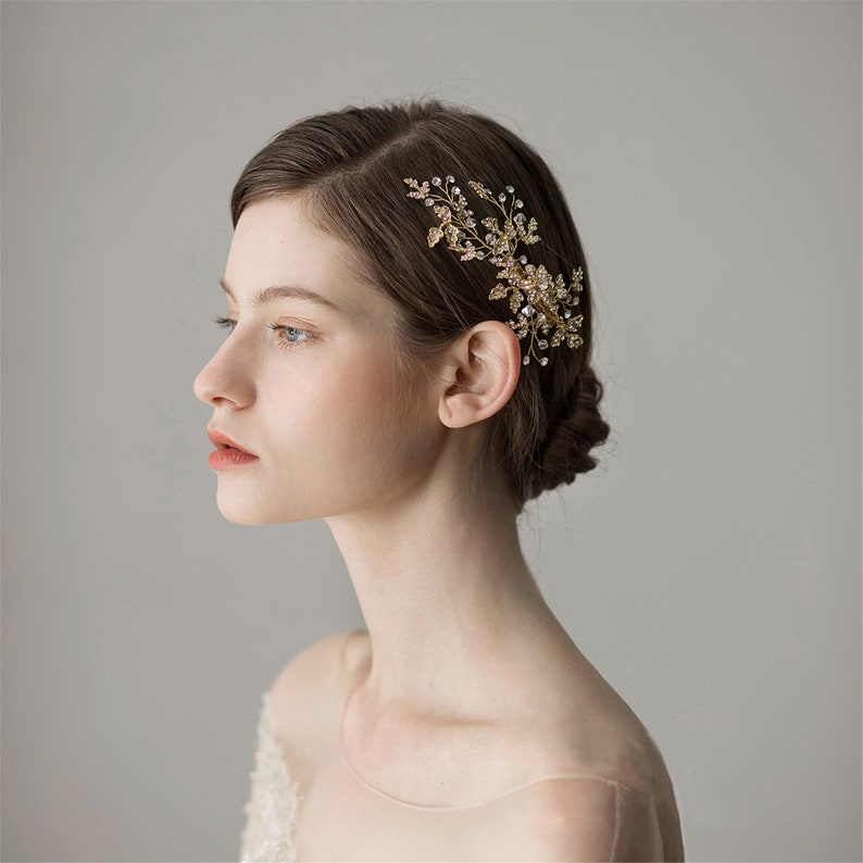 Elegant Bridal Hair Clip Sets Pearls Hairpin Pink Floral Leaves Bride Tiara BridesmaidFlower Girl Hairpin Hair Clip Wedding Hair Accessory
