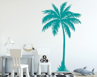 Vinyl Decal Wall Fabric Removable and Reusable PalmTreeUScolor002ET Palm Tree Wall Decal