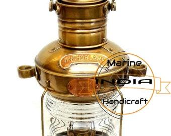 "Nautisch Maritime Schiff Laterne 14 /"" Messing /& Kupfer Anker Boot Licht Öl Lampe"