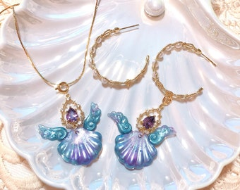 Mermaid Melody Pichi Pichi Pitch concept design Necklace two ways earring package-Melody Purple
