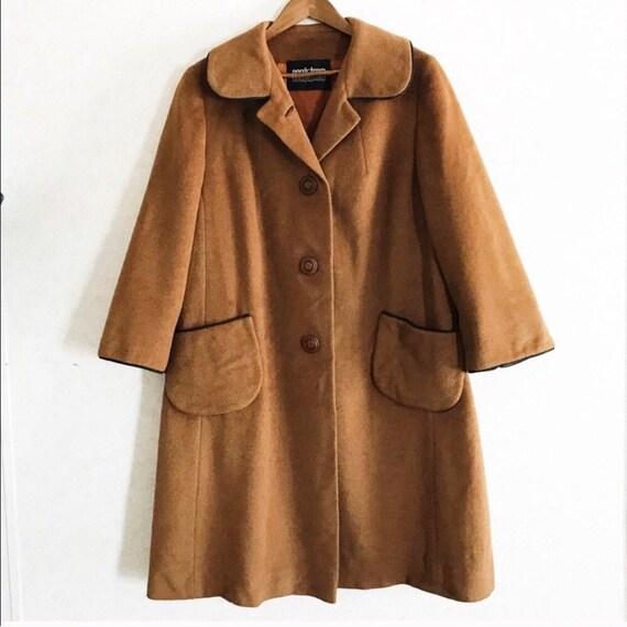 Vintage Nordstrom mod brown wool princess coat