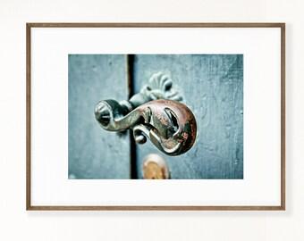 Door handle print, Graphic fine art photograph, Wall Art, Dubrovnik, Croatia