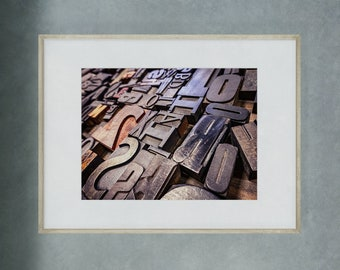 Wooden type blocks, fine art photograph, Wooden font, Texture, Wall Art, Typography, Fonts, Ink printing press