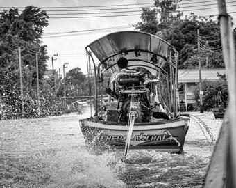 Longtail boat, Bangkok canals, fine art photograph, Wall Art, Bangkok, speed boat