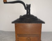 Classic Vintage Coffee Grinder w Cast Iron Lid