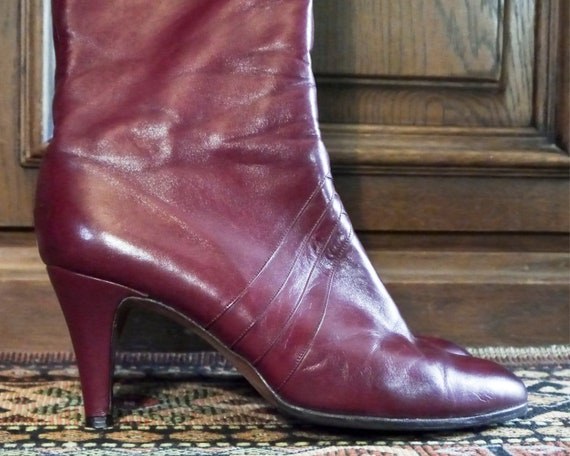 Vintage 70s 80s sexy burgundy high leather boots … - image 6
