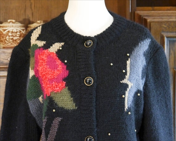 Vintage 80s 90s handmade knit cardigan abstract r… - image 8