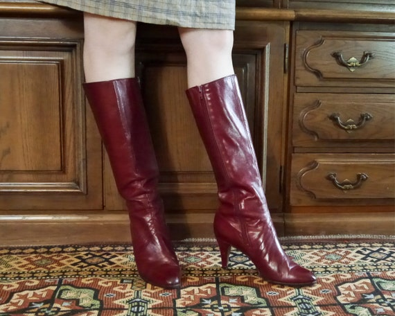Vintage 70s 80s sexy burgundy high leather boots … - image 3