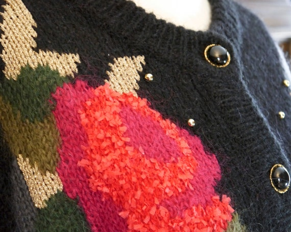 Vintage 80s 90s handmade knit cardigan abstract r… - image 3
