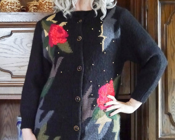 Vintage 80s 90s handmade knit cardigan abstract r… - image 7