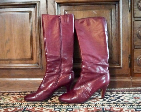 Vintage 70s 80s sexy burgundy high leather boots … - image 10