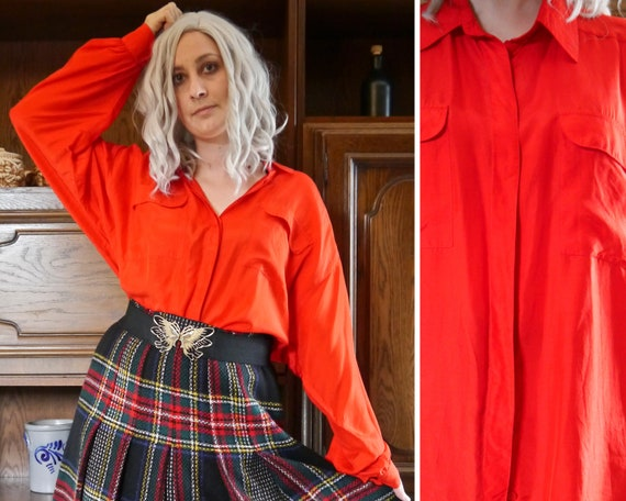 Silk 90s red vintage silk blouse XXL oversized ret