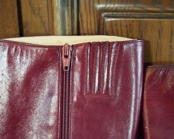 Vintage 70s 80s sexy burgundy high leather boots … - image 7