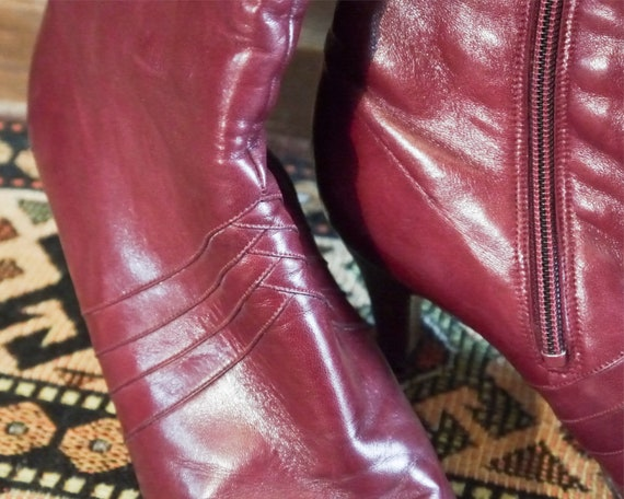 Vintage 70s 80s sexy burgundy high leather boots … - image 8