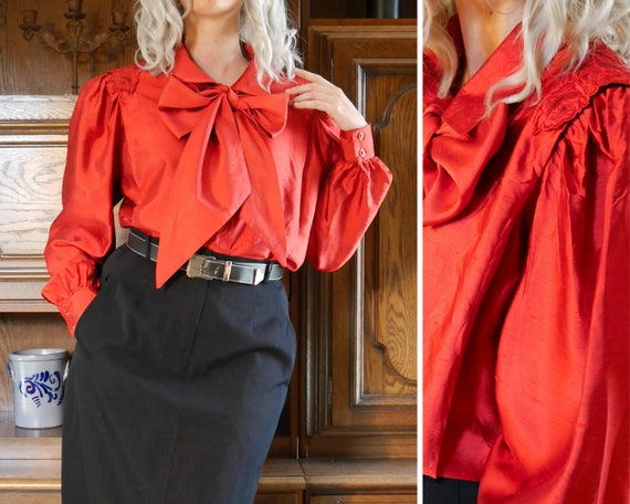 Silk 80s 90s vintage silk blouse with bow red L XL